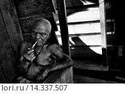 Купить «An old man smokes pipe on the porch of his wooden house in the poor neigbourhood of Tumaco, Colombia, 11 June 2010.», фото № 14337507, снято 11 июня 2010 г. (c) age Fotostock / Фотобанк Лори
