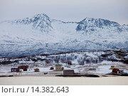 Купить «Hamlet on Kvaloya Island near Sommeroy in Arctic Circle Northern Norway», фото № 14382643, снято 20 января 2019 г. (c) age Fotostock / Фотобанк Лори