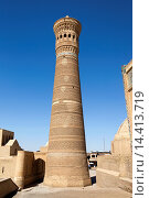 Kalon Minaret, Kalon Mosque, also known as Kalyan Mosque, Poi Kalon, Bukhara, Uzbekistan. Стоковое фото, фотограф Mel Longhurst / age Fotostock / Фотобанк Лори