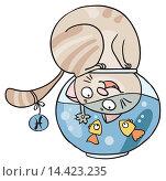 Купить «Котогороскоп: знак зодиака Рыбы», иллюстрация № 14423235 (c) Елисеева Екатерина / Фотобанк Лори
