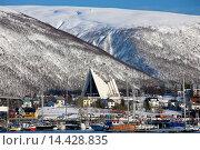 Купить «The Arctic Cathedral, Lutheran christian known as Tromsdalen Church, built 1965 architect Jan Inge Hovig at Tromso, Norway», фото № 14428835, снято 20 марта 2019 г. (c) age Fotostock / Фотобанк Лори