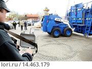 Bozena Riot - remotely operated, armored vehicle on EUROPOLTECH 2011 international fair in Warsaw, Poland. Редакционное фото, фотограф Konrad Zelazowski / age Fotostock / Фотобанк Лори