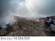 Купить «Steaming fumarole on the Gorely volcano, Kamchatka, Russia, Eurasia», фото № 14504559, снято 4 августа 2020 г. (c) age Fotostock / Фотобанк Лори