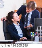 Купить «Sexual harassment boss flirting with manager», фото № 14505399, снято 27 февраля 2020 г. (c) Яков Филимонов / Фотобанк Лори