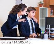 Купить «Unwanted behaviour chief touching manager», фото № 14505415, снято 27 февраля 2020 г. (c) Яков Филимонов / Фотобанк Лори