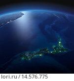 Купить «Вид на ночную Землю из космоса. Новая Зеландия», иллюстрация № 14576775 (c) Антон Балаж / Фотобанк Лори