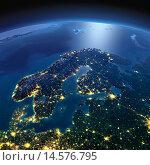 Купить «Вид на ночную Землю из космоса. Скандинавский полуостров», иллюстрация № 14576795 (c) Антон Балаж / Фотобанк Лори