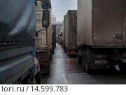 Купить «Большое скопление грузовых автомобилей во время перекрытия МКАД в районе Ленинградского шоссе в городе Москве, Россия», фото № 14599783, снято 4 декабря 2015 г. (c) Николай Винокуров / Фотобанк Лори