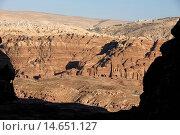 Купить «Petra archaeological site , Djebel Al-Khubtha Nabatean tombs and modern town, Petra, Jordan.», фото № 14651127, снято 24 января 2019 г. (c) age Fotostock / Фотобанк Лори
