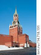 Купить «Спасская башня Московского Кремля», фото № 14718191, снято 16 марта 2012 г. (c) Бурмистрова Ирина / Фотобанк Лори