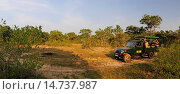 Купить «safari jeep with wildlife photographers in wilderness, Sri Lanka, Wilpattu National Park», фото № 14737987, снято 21 февраля 2012 г. (c) age Fotostock / Фотобанк Лори