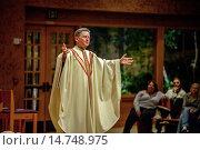 Купить «A pastor preaches a sermon to his congregation while conducting mass at St. Timothy´s Catholic Church, Laguna Niguel, CA.», фото № 14748975, снято 5 июля 2020 г. (c) age Fotostock / Фотобанк Лори