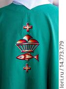 Купить «Catholic priest's chasuble embroidery, Rancourt, Somme, France, Europe», фото № 14773779, снято 5 июля 2020 г. (c) age Fotostock / Фотобанк Лори