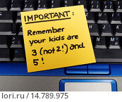 Купить «memo note on notebook, Important, Remember your kids are three (not two) and five», фото № 14789975, снято 30 марта 2005 г. (c) age Fotostock / Фотобанк Лори
