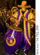 Купить «Candombe drummers in the Montevideo annual Carnaval , Candombe is a drum-based musical style of Uruguay. Candombe originated among the African population in Montevideo Uruguay.», фото № 14792399, снято 19 июня 2019 г. (c) age Fotostock / Фотобанк Лори