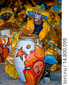 Купить «Candombe drummers in the Montevideo annual Carnaval , Candombe is a drum-based musical style of Uruguay. Candombe originated among the African population in Montevideo Uruguay.», фото № 14800099, снято 19 июня 2019 г. (c) age Fotostock / Фотобанк Лори