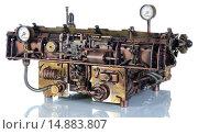 Купить «Модель печатной машинки в стиле стимпанк. Вид сзади», фото № 14883807, снято 29 ноября 2015 г. (c) Валерий Александрович / Фотобанк Лори