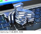 Купить «Database or archive concept. Data storage. Laptop and file cabinet with ring binders.», фото № 14891199, снято 4 июля 2020 г. (c) Maksym Yemelyanov / Фотобанк Лори