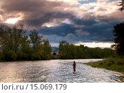 Купить «Flyfishing silhouette on Big Hole River, Divide Bridge Recreation Area, Butte Field Office Bureau of Land Management, Montana.», фото № 15069179, снято 10 сентября 2010 г. (c) age Fotostock / Фотобанк Лори