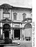Cortile del Belvedere (Belvedere Courtyard), Vatican, Rome, Italy, illustration from Soviet encyclopedia, 1928. (2012 год). Редакционное фото, фотограф Ivan Vdovin / age Fotostock / Фотобанк Лори