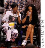 Купить «Celebrities at the Clippers game. The Oklahoma City Thunder defeated the Los Angeles Clippers by the final score of 107-101 at Staples Center in downtown...», фото № 15142167, снято 9 апреля 2014 г. (c) age Fotostock / Фотобанк Лори