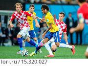 Купить «2014 FIFA World Cup - Group A match, Brazil (3) v (1) Croatia, held at Arena Corinthians Featuring: Neymar Jr. Where: Sao Paulo, Brazil When: 12 Jun 2014 Credit: WENN.com», фото № 15320027, снято 12 июня 2014 г. (c) age Fotostock / Фотобанк Лори