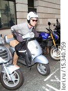 Купить «Forget chauffeurs and limousines, Jason Donovan has found an economical way to scoot around London as he leaves BBC Studios in central London on his silver...», фото № 15340759, снято 23 июня 2014 г. (c) age Fotostock / Фотобанк Лори