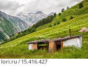 Купить «Старый разрушенный сарай на зеленом лугу в горах», фото № 15416427, снято 11 июля 2015 г. (c) katalinks / Фотобанк Лори