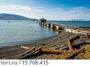Купить «Wooden pier of the old Russian coalmine in Colesbukta, Svalbard, Arctic, Norway, Scandinavia, Europe», фото № 15708415, снято 15 августа 2014 г. (c) age Fotostock / Фотобанк Лори