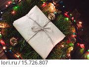 Купить «Рождественский подарок в бумажном пакете», фото № 15726807, снято 11 декабря 2015 г. (c) Инга Макеева / Фотобанк Лори