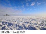 Купить «A wide angle image of a farm field covered with fresh snow and frost under a blue sky in rural Alberta Canada.», фото № 15735079, снято 27 декабря 2014 г. (c) age Fotostock / Фотобанк Лори