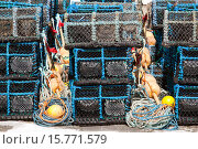 Купить «Creels,lobsters crabs pots Gourdon harbour NE Scotland UK.», фото № 15771579, снято 2 мая 2011 г. (c) age Fotostock / Фотобанк Лори