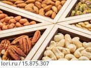 Купить «variety of nuts (pecan, cashew, almond, pine, pistachio, peanut) in a geometrical wood tray», фото № 15875307, снято 11 июля 2020 г. (c) age Fotostock / Фотобанк Лори