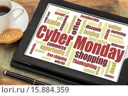 Купить «Cyber Monday word cloud on a digital tablet with a cup of coffee - a holiday online shopping concept», фото № 15884359, снято 27 января 2020 г. (c) age Fotostock / Фотобанк Лори