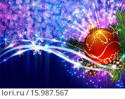 Купить «Новогодняя композиция с красным шаром, еловыми ветками и шишками на искрящемся фоне», эксклюзивная иллюстрация № 15987567 (c) Александр Павлов / Фотобанк Лори