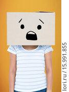 Купить «Composite image of depressed woman with box over head», фото № 15991855, снято 18 июня 2019 г. (c) Wavebreak Media / Фотобанк Лори