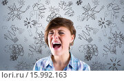 Купить «Composite image of pretty brunette shouting», фото № 15992163, снято 16 сентября 2019 г. (c) Wavebreak Media / Фотобанк Лори