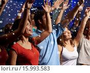 Купить «smiling friends at concert in club», фото № 15993583, снято 20 октября 2014 г. (c) Syda Productions / Фотобанк Лори