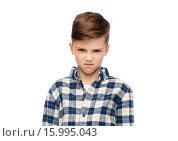 Купить «angry boy in checkered shirt», фото № 15995043, снято 6 ноября 2015 г. (c) Syda Productions / Фотобанк Лори