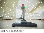 Купить «happy woman with vacuum cleaner at home», фото № 16005087, снято 25 января 2015 г. (c) Syda Productions / Фотобанк Лори