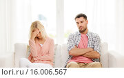 Купить «unhappy couple having argument at home», фото № 16006567, снято 6 июня 2015 г. (c) Syda Productions / Фотобанк Лори