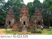 Купить «Preah Ko temple (879), Hariharalaya, Roluos, Cambodia.», фото № 16023535, снято 30 июля 2014 г. (c) age Fotostock / Фотобанк Лори