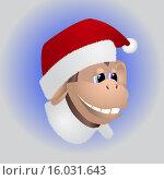 Купить «Обезьянка в шапочке Санта Клауса», иллюстрация № 16031643 (c) Евгений Бондарев / Фотобанк Лори