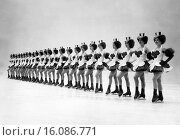 Купить «United States: c. 1959.A standing lineup of the Glamour-Icers, the precision ice skating chorus.», фото № 16086771, снято 17 января 2019 г. (c) age Fotostock / Фотобанк Лори