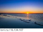 Купить «Восход солнца на озере Баскунчак», фото № 16134107, снято 9 июня 2015 г. (c) Валерий Смирнов / Фотобанк Лори