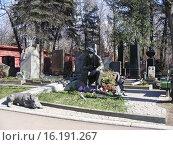 Купить «Могила актёра Юрия Никулина на Новодевичье кладбище в Москве», эксклюзивное фото № 16191267, снято 9 апреля 2009 г. (c) lana1501 / Фотобанк Лори