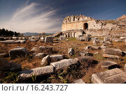 Купить «View to the ancient ruins in Miletus, Milet, Aydin Province, Turkey, Europe.», фото № 16243727, снято 24 апреля 2015 г. (c) age Fotostock / Фотобанк Лори