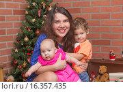 Счастливая семья у новогодней елки. Стоковое фото, фотограф Алексей Чубов / Фотобанк Лори