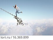 Купить «Up the ladder overcoming challenges», фото № 16369899, снято 18 мая 2012 г. (c) Sergey Nivens / Фотобанк Лори