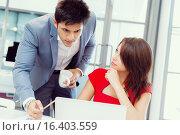 Купить «Two young business collegue in office», фото № 16403559, снято 25 января 2015 г. (c) Sergey Nivens / Фотобанк Лори